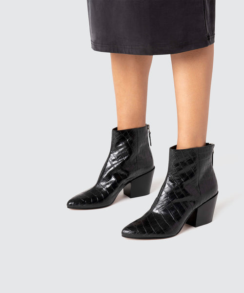 COLTYN BOOTIES IN BLACK CROCO -   Dolce Vita