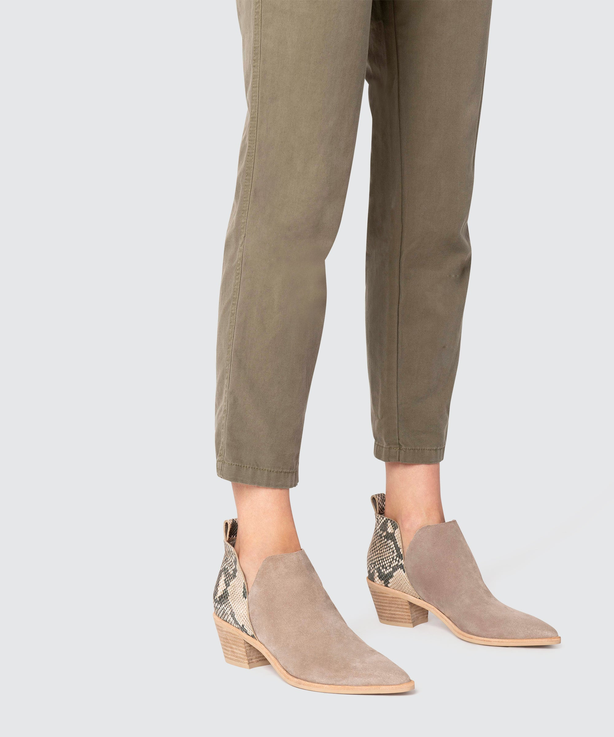 SONNI BOOTIES IN TAUPE SNAKE – Dolce Vita
