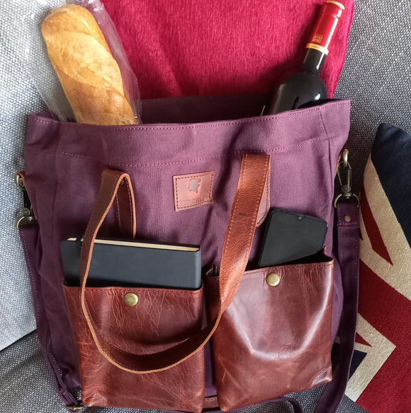 Large canvas and vintage leather tote by Burghley Bags