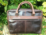 The Ashton. A handmade leather briefcase by Burghley Bags. Showing the back with zip pocket.