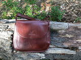 The Aunby Saddlebag.  A handmade leather bag by Burghley Bags in a classic chocolate brown colour.