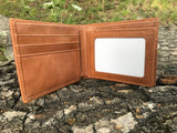 The Classic Wallet. An elegant handmade leather wallet by Burghley Bags in a classic tan colour. It features 6 card slots, 4 slip pockets and 2 compartments for notes/bills.
