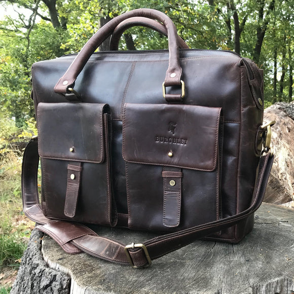 The Ashton. A handmade oily hunter leather briefcase by Burghley Bags. Comes with an adjustable and detachable shoulder strap.