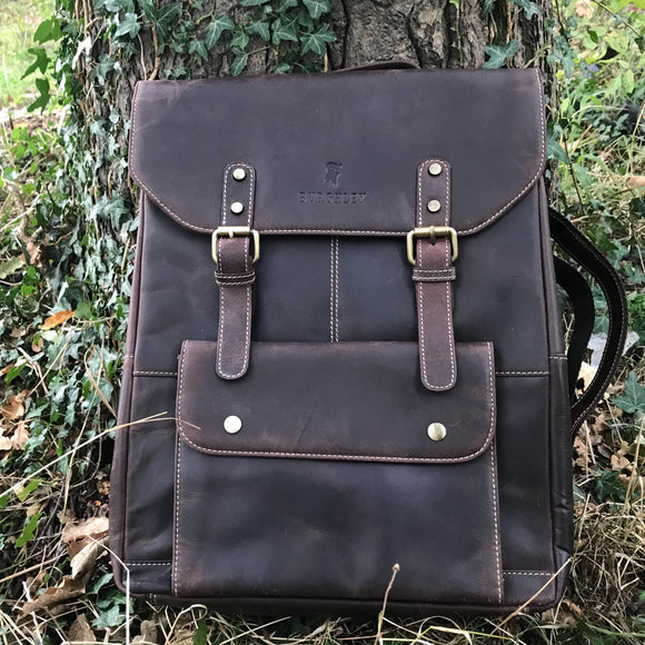The Carlton Backpack.  A retro-modern leather rucksack by Burghley Bags with a vintage look. Fully lined, with adjustable straps that can be repositioned.