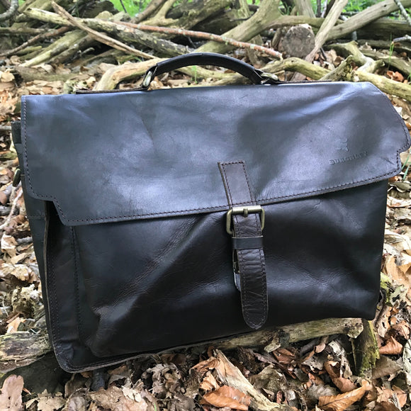 The Dorrington Briefcase. A classic 30's styled leather briefcase by Burghley Bags. A handmade leather vintage work bag, with enough space for 15