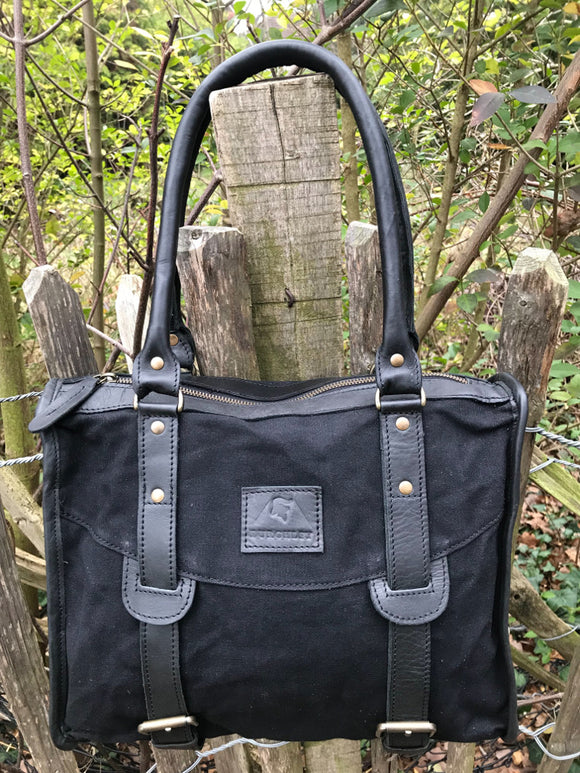 The Wigham. A casual leather and canvas bag by Burghley Bags