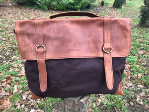 The Granby vintage leather casual briefcase by Burghley Bags