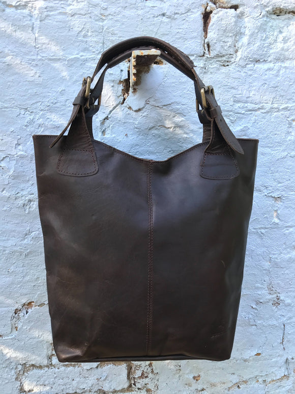 The Gretton. A handmade vintage leather tote by Burghley Bags