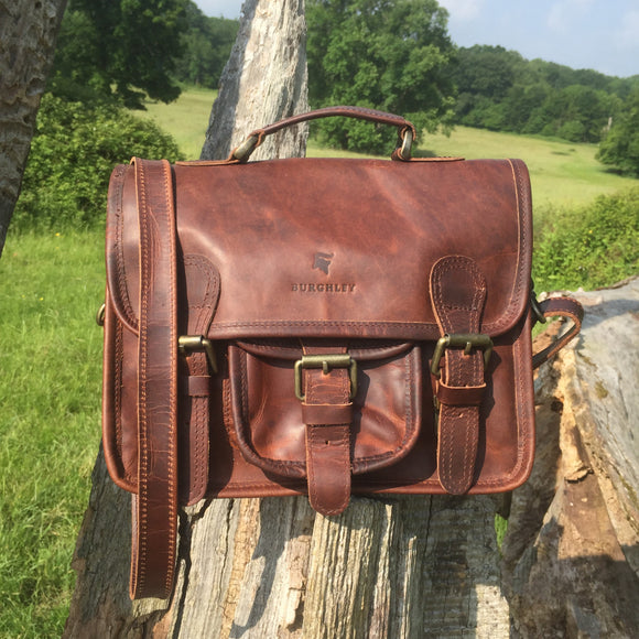 The Little Somerby. A classic leather mini-satchel by Burghley Bags