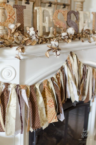 replace tinsel with material decorations made from old material