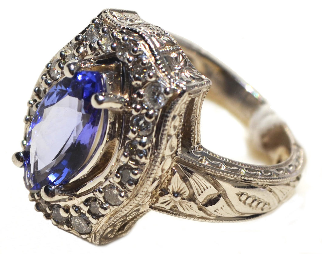 14k White gold with diamond and tanzanite#43 - Soheil Oriental Rugs