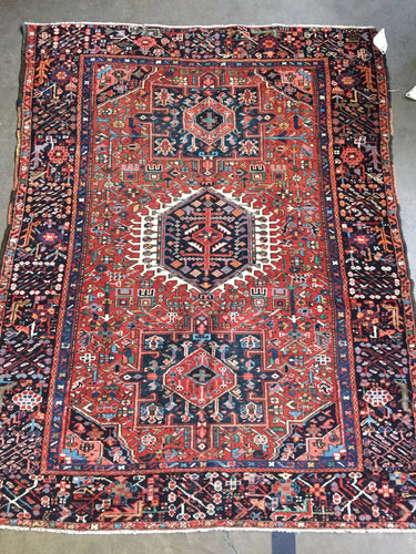 #9922 Persian Antique rug Karajeh 4.9x6