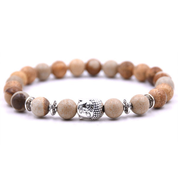 Bracelet bouddha en pierres naturelles - 13 couleurs disponibles