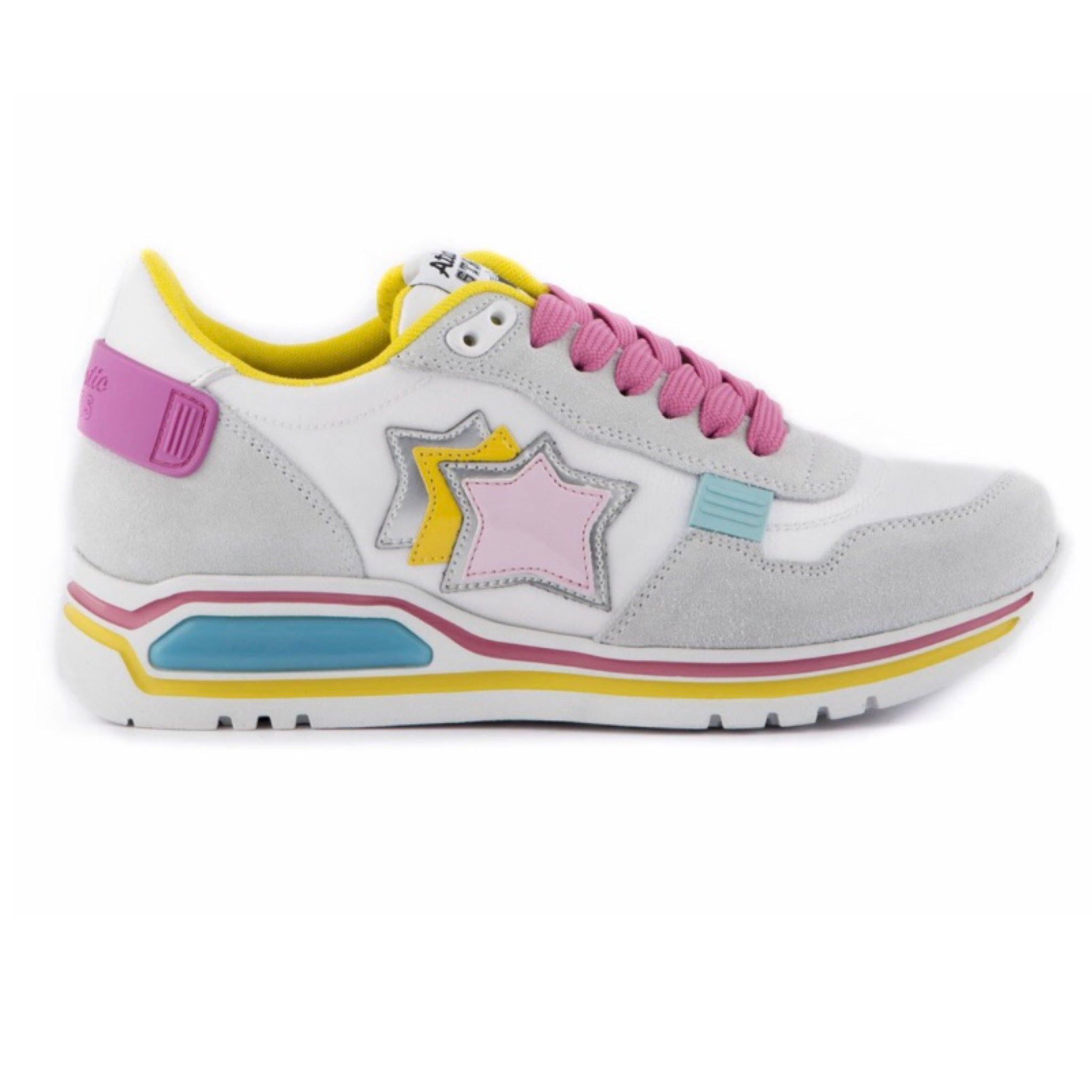 Pink Yellow Blue grey trainers