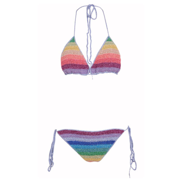Womens triangle bikini in multicolour rainbow stripes
