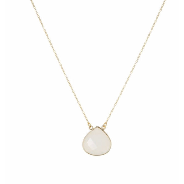 Large Teardrop Necklace White