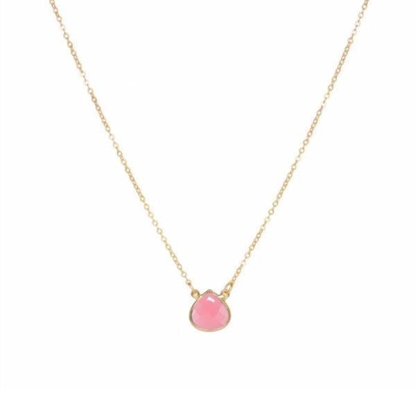 Small Teardrop Necklace Pink Jade