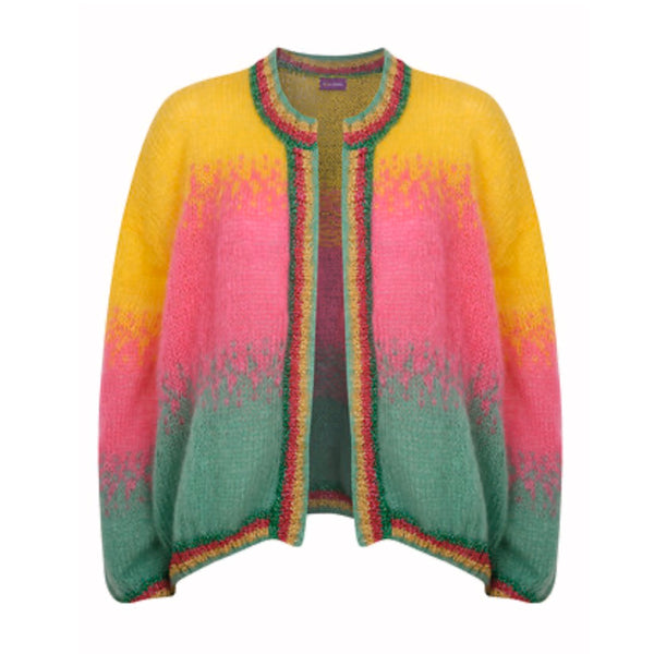 Womens Cardigan tie dye in yellow, pink, green