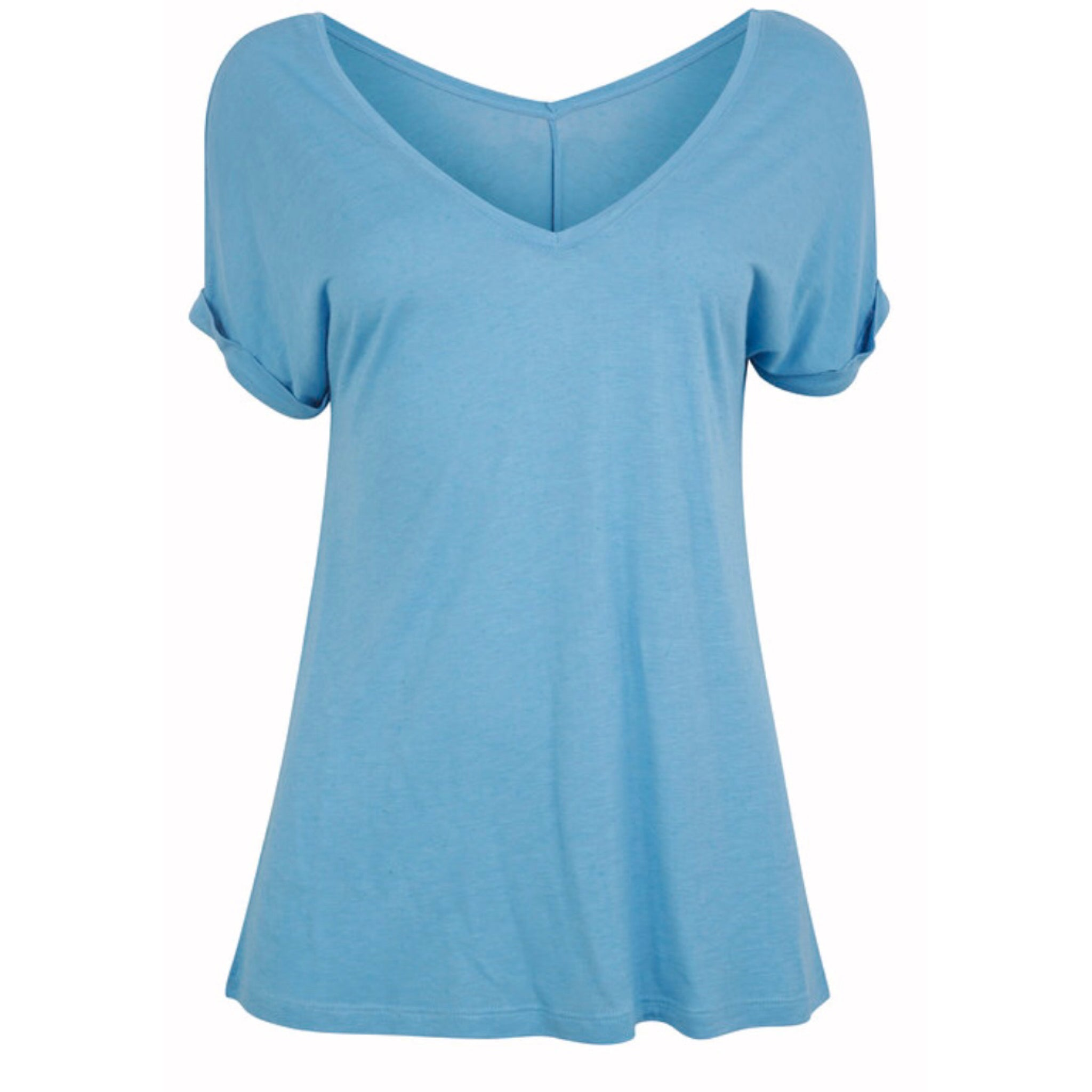 Scoop V-neck T Sky