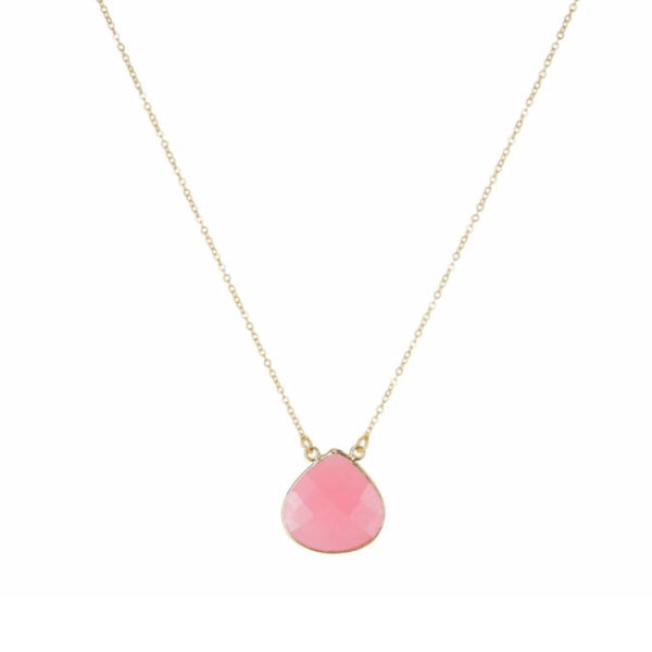 Large Teardrop Necklace Pink Jade