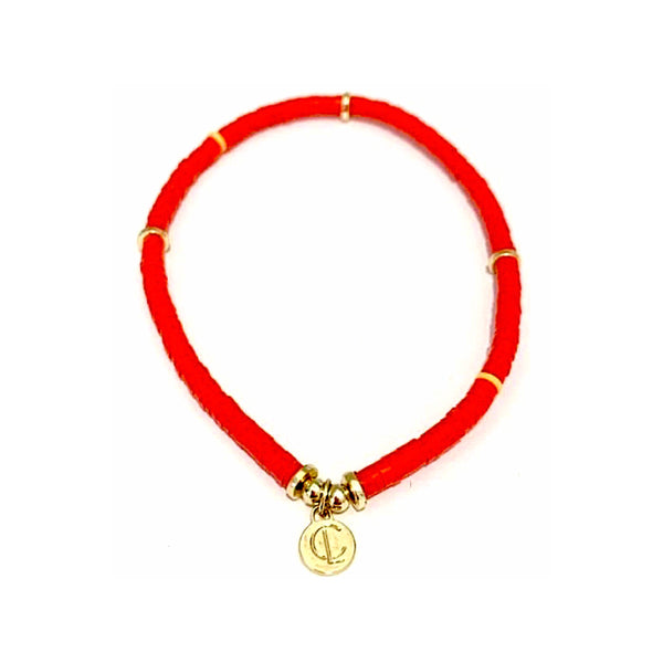 Skinny Disc Bracelet Red