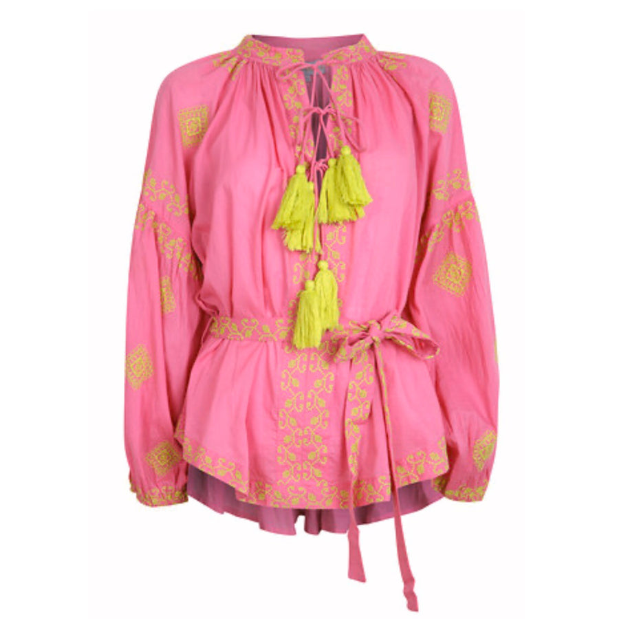 Olive Blouse Neon Pink/Lime