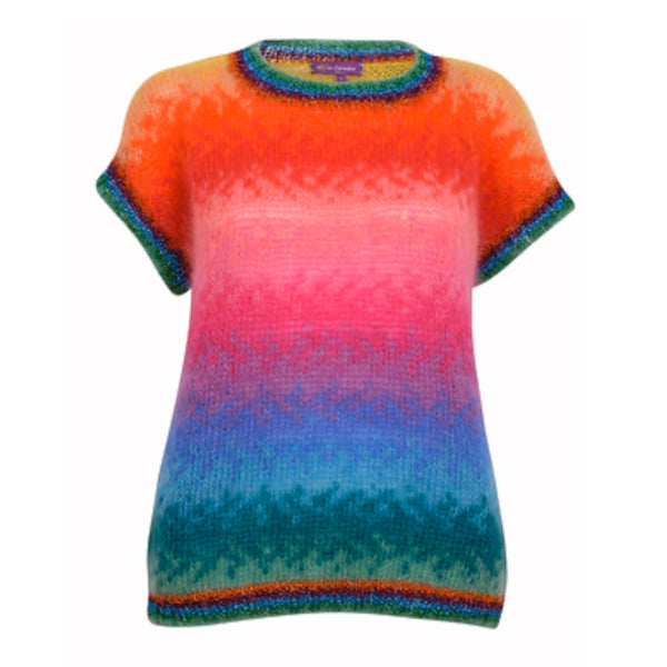 Women's multi colour top shot sleeve rainbow