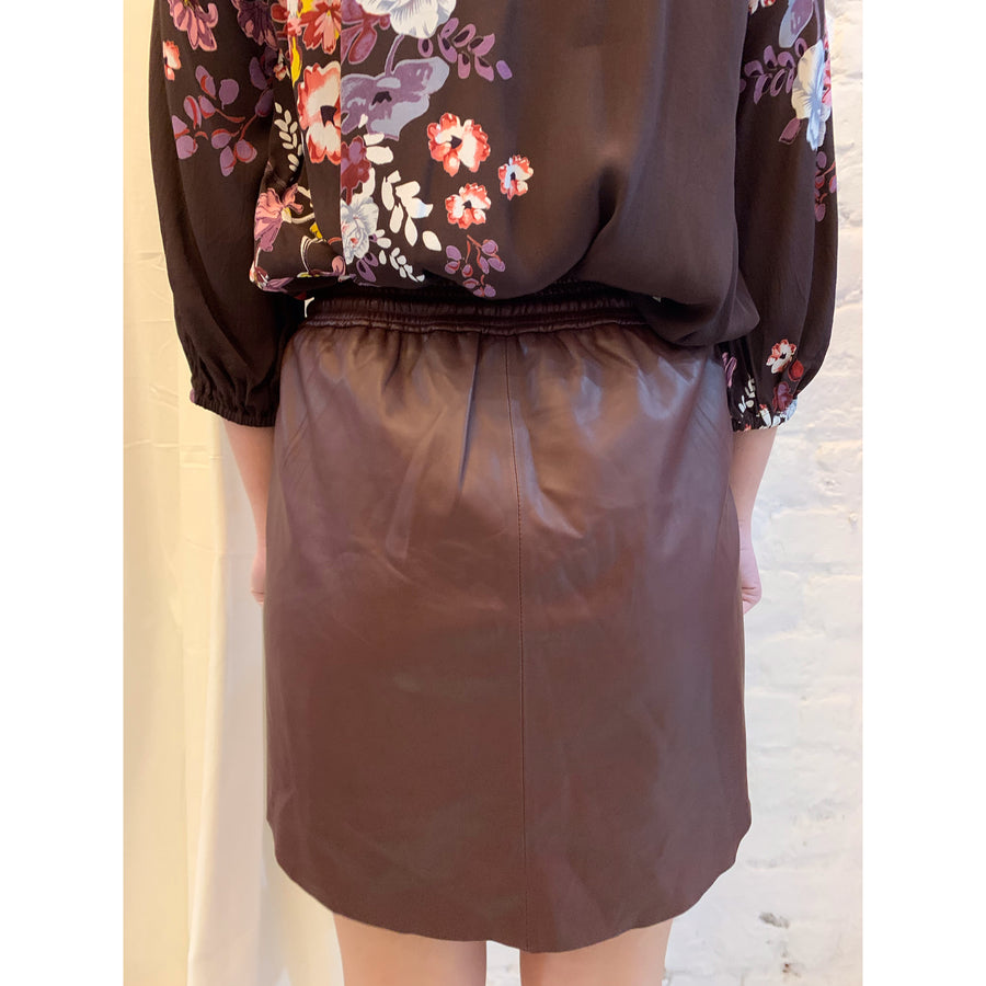 Prill Leather Skirt Brown