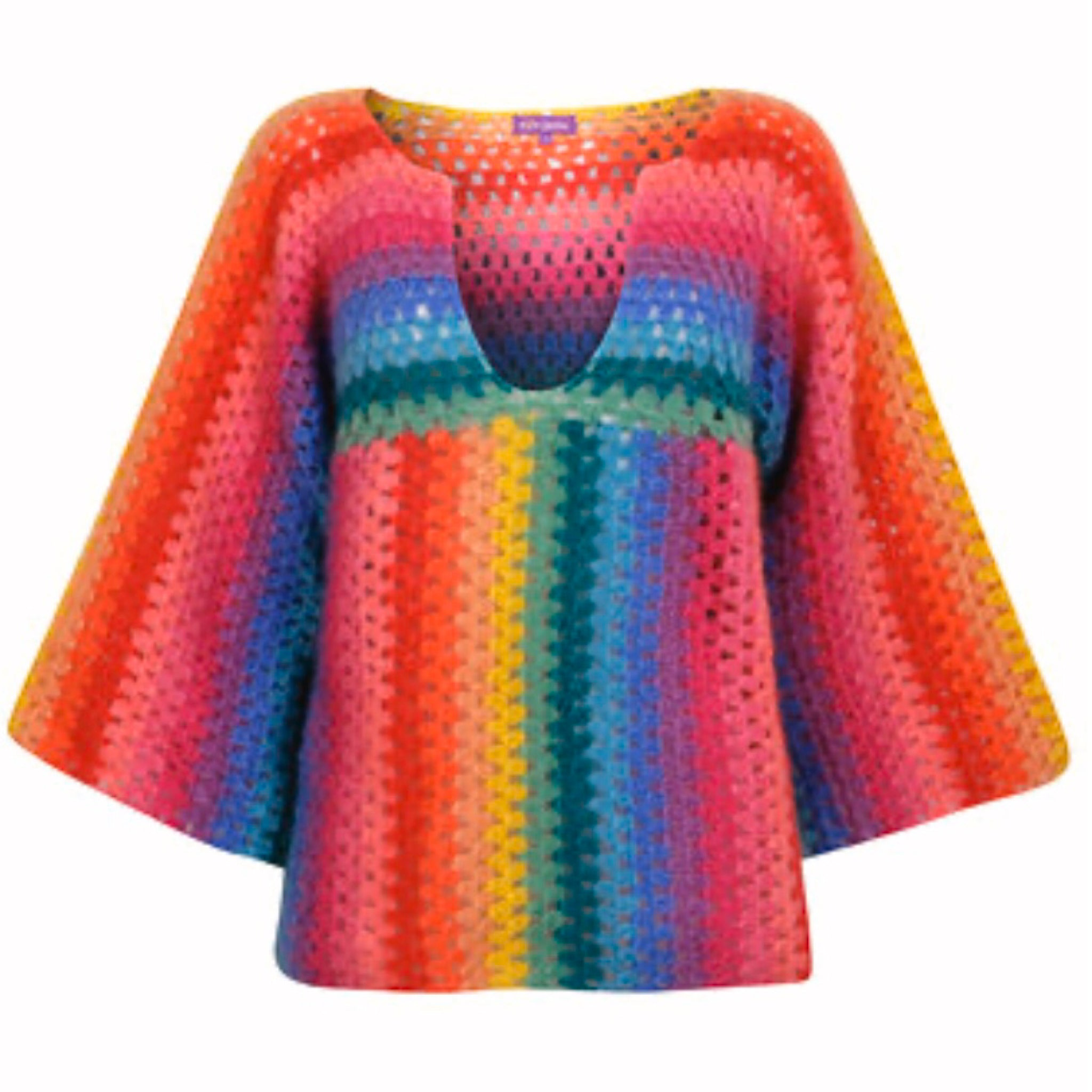 Rainbow v neck women's jumper multi colour