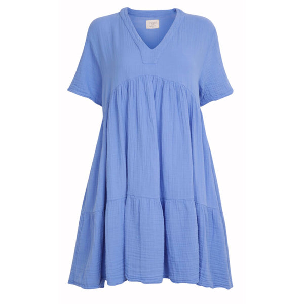 Tiered Mini Dress Moroccan Blue