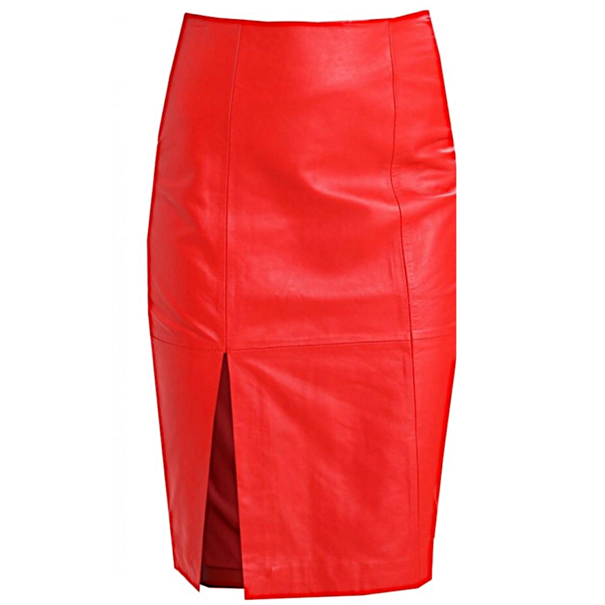Beate Red leather Skirt