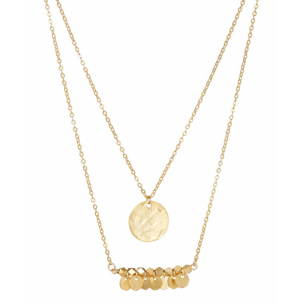 Double Row Disc Necklace Gold
