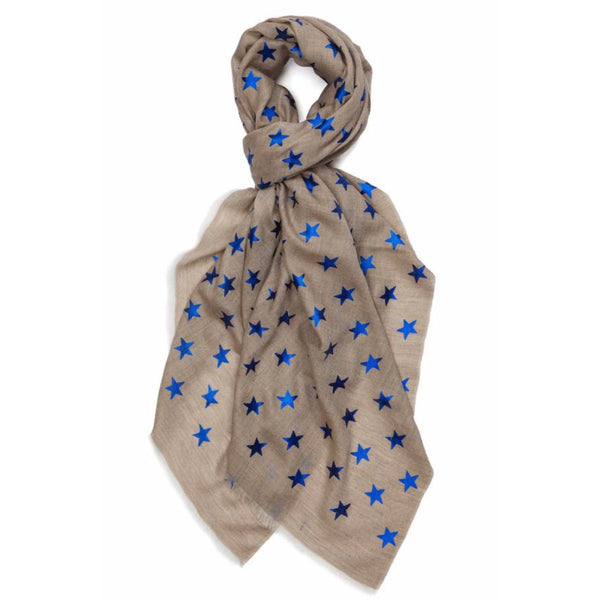 Star Pashmina- Natural/blue