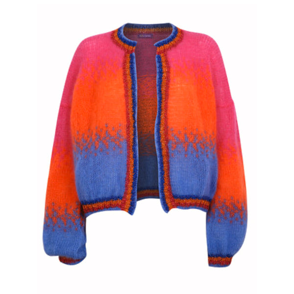 Womens Cardigan tie dye in blue, pink, orange