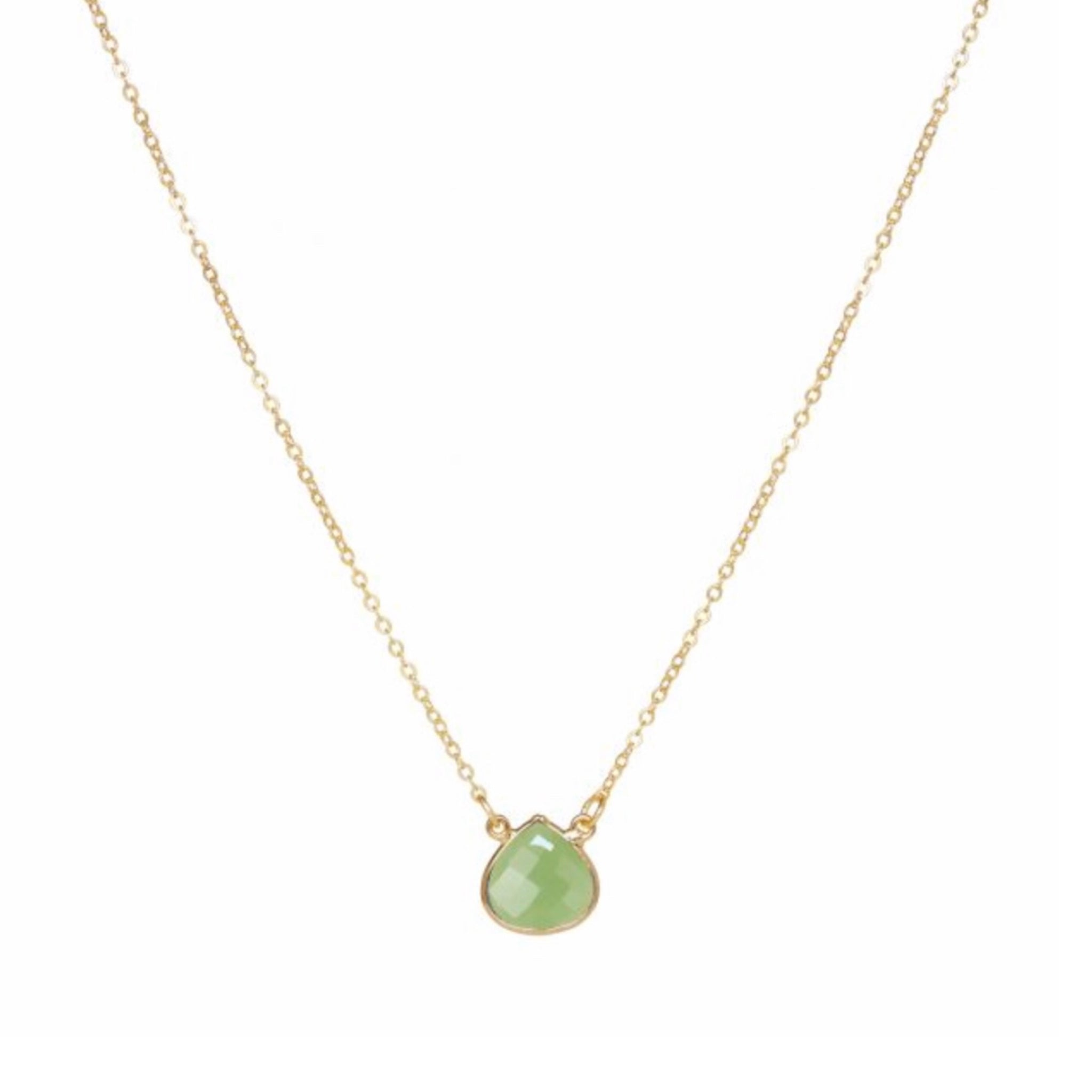 Small Teardrop Necklace Green