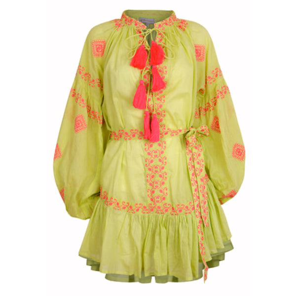 Daisy Dress Lime/Hot Pink