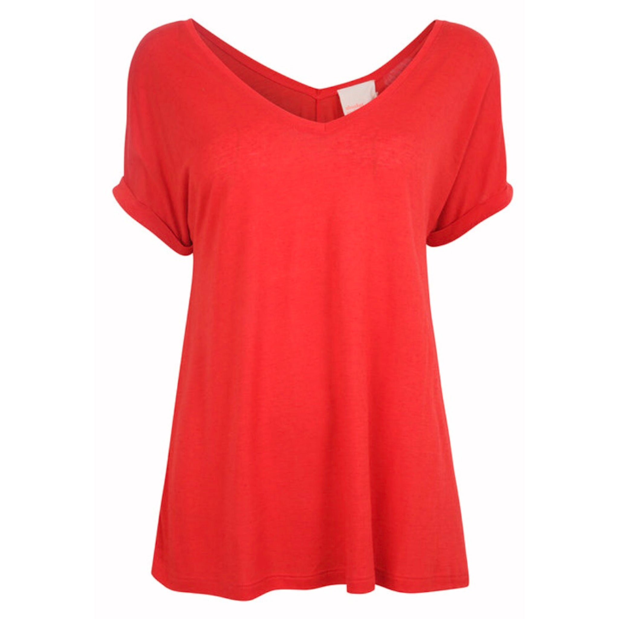 Scoop V-neck T Red