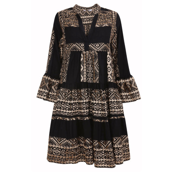 Greek Style Tiered Dress Black