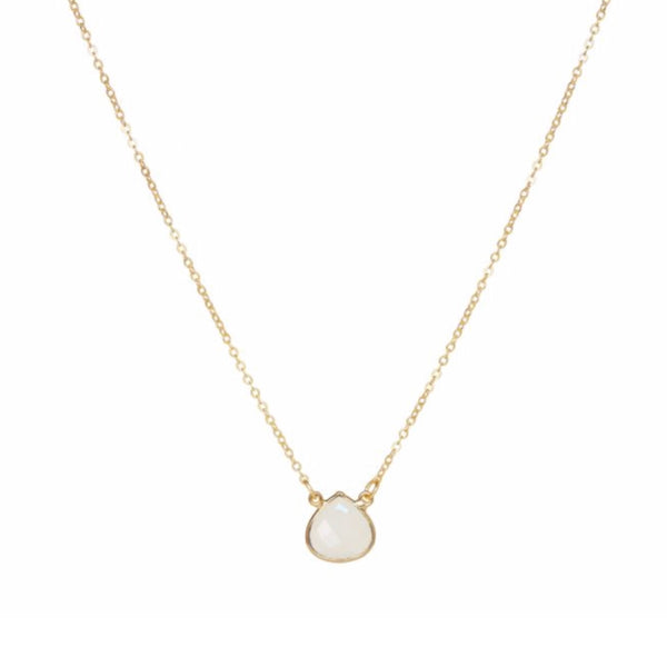 Small Teardrop Necklace White