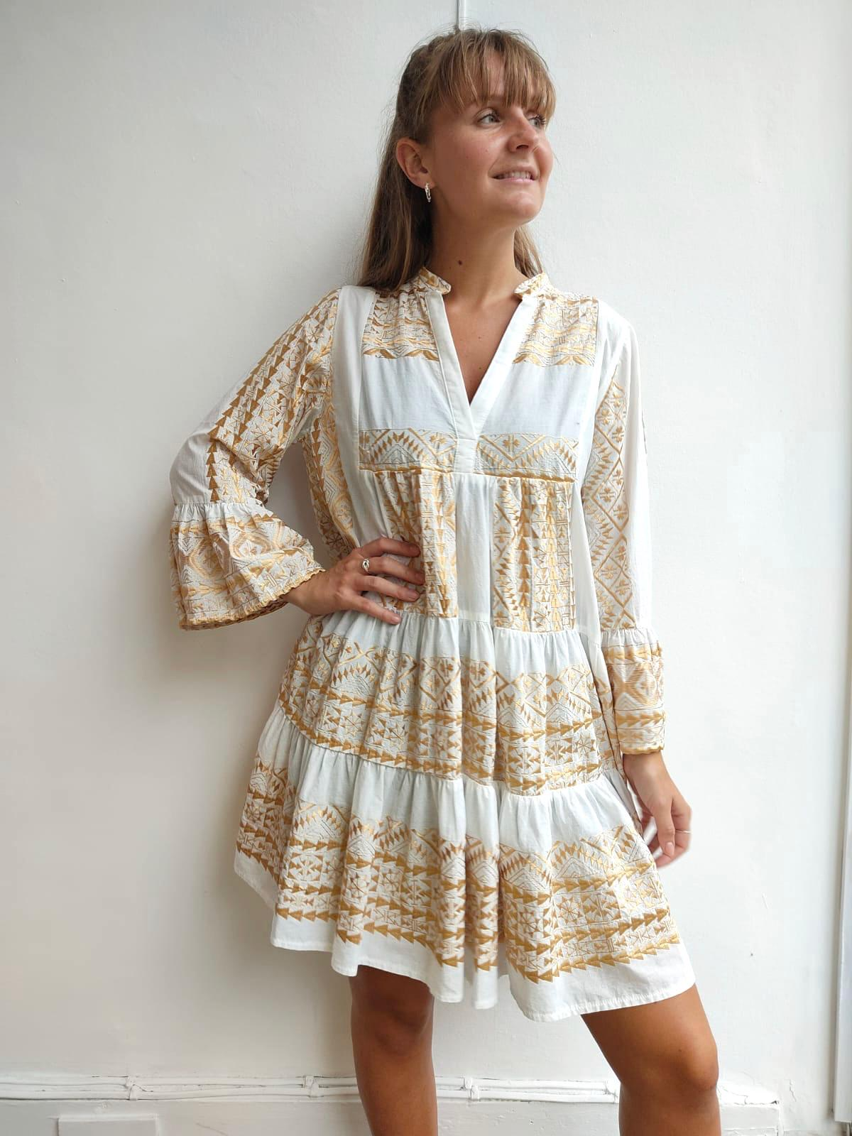 Greek Style Tiered Dress White