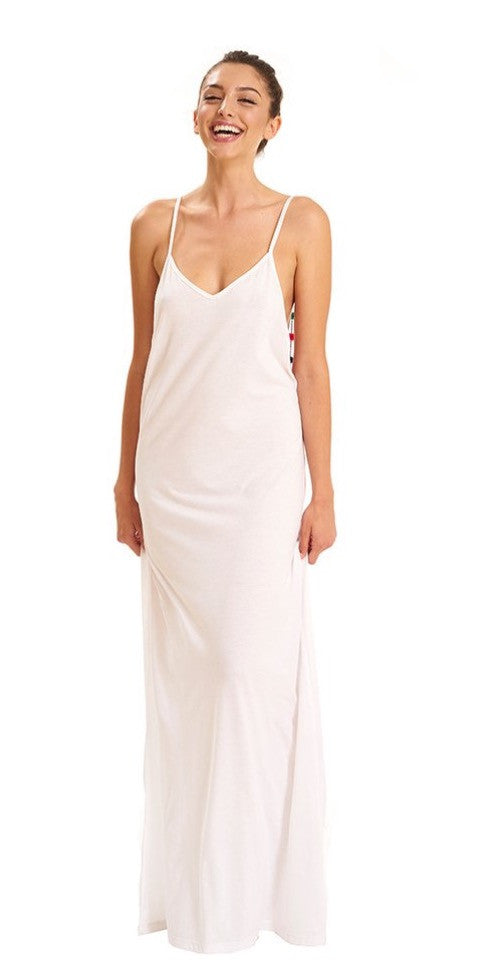 Pom Pom necklace maxi dress - white