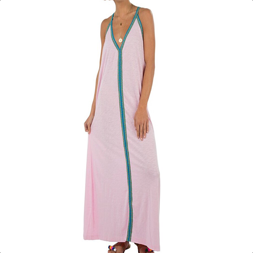 Pima sundress - pale pink with blue braid