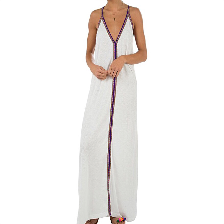 Pima sundress - white with purple braid