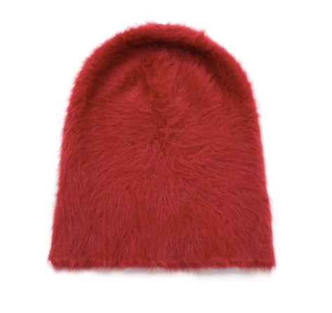 Angora beanie dark red