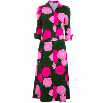 Shirt Dress - Green/Pink Floral