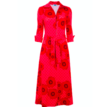 Shirt Dress - Red on Red Floral
