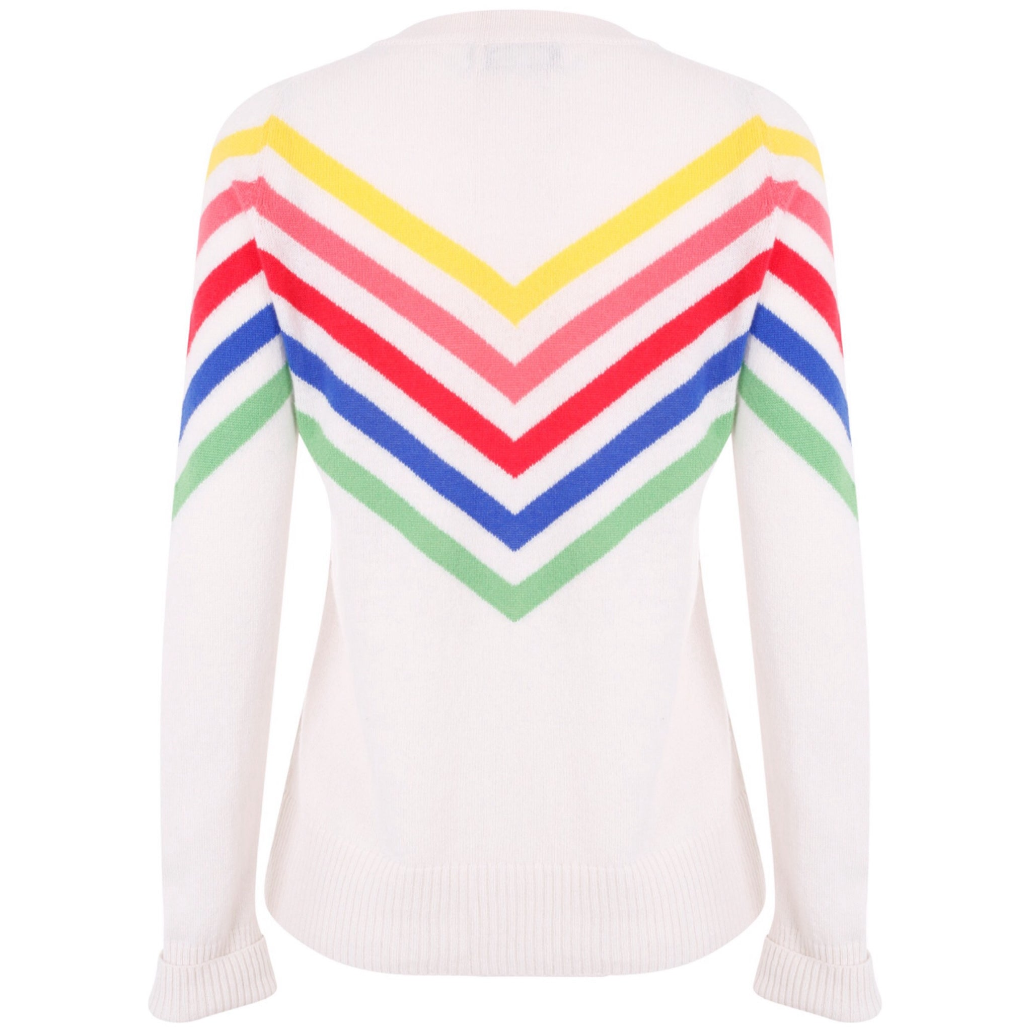 Rainbow Sports Stripe Jumper - Off White