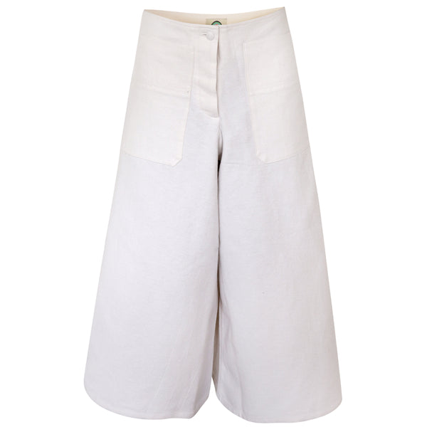 Linen, Cotton flared trouser in white