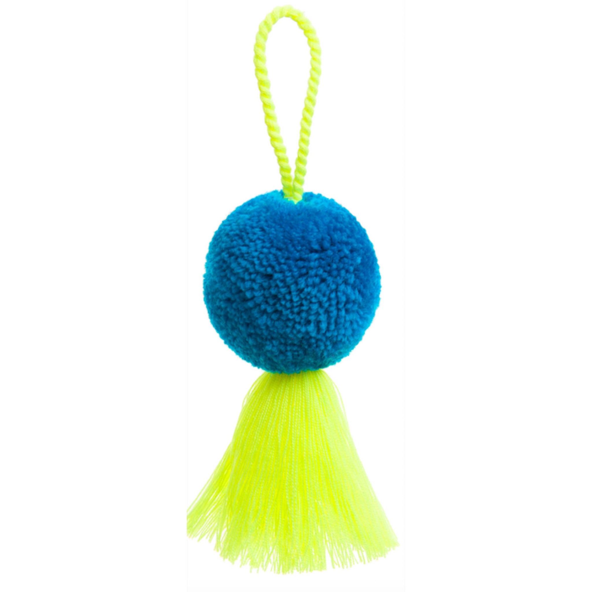 Pom Pom and Tassel Bauble - Blue