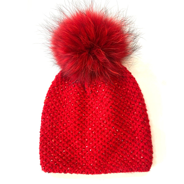 Red Jewelled Pom Pom Hat